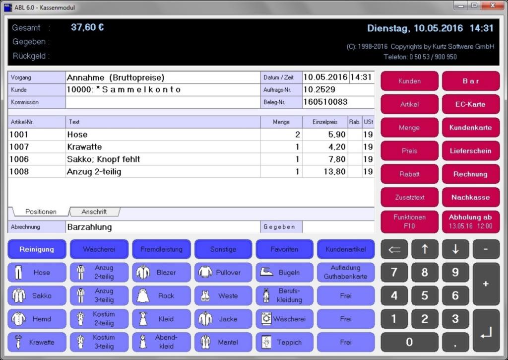 Screenshot eines Verkaufsvorganges in einer Textilreinigung