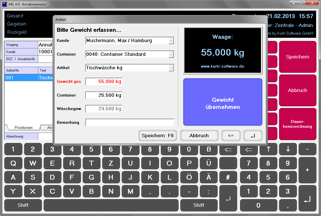 Screenshot ABL 6.0 Kassensystem mit Waagenanbindung für Wäschereien